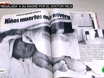Imagen de un bebé robado en un artículo de Interviú