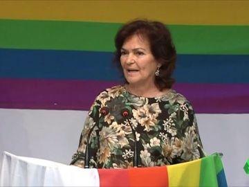 La vicepresidenta del Gobierno se dirige al colectivo LGTBI