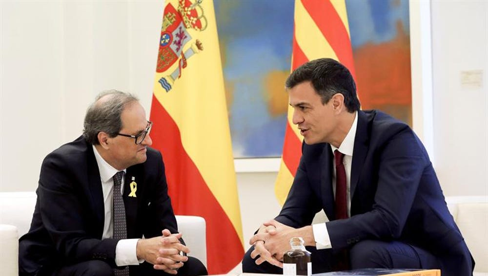 Pedro Sánchez y Quim Torra durante su reunión en Moncloa