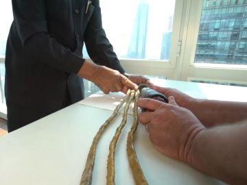 El hombre con las uñas más largas del mundo se las corta.