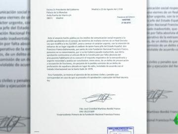 Moncloa recibe un burofax de la Fundación Franco