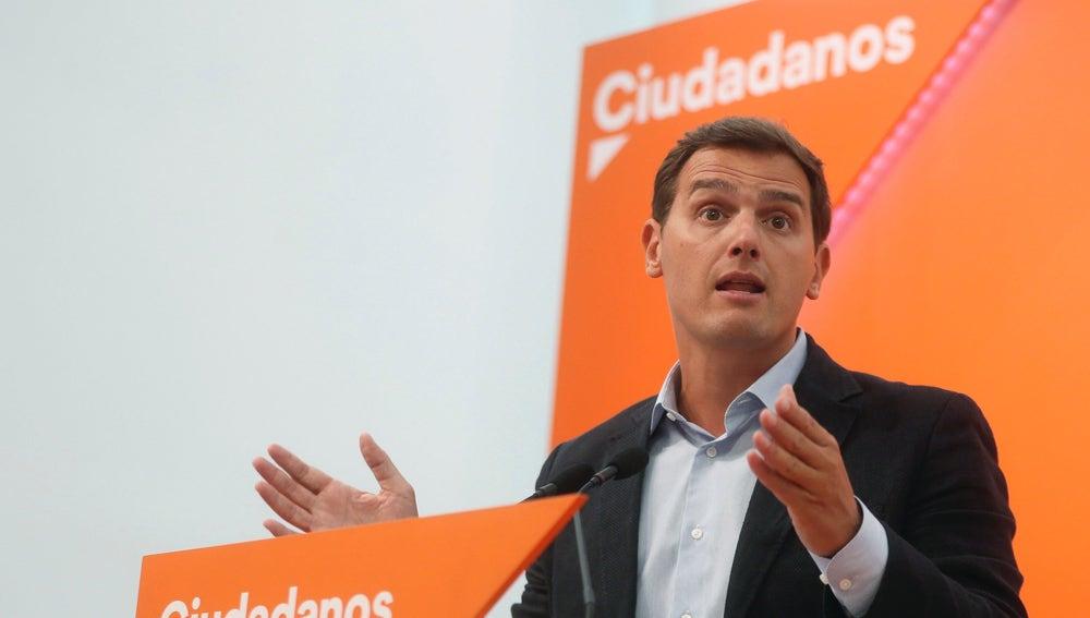 El líder de Ciudadanos, Albert Rivera, en la sede central de la formación naranja, en Madrid