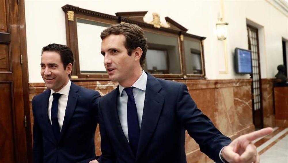 El presidente del PP, Pablo Casado, y el secretario general del PP, Teodoro García Egea