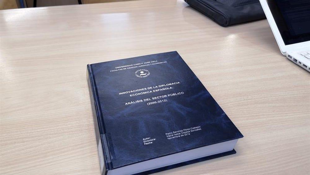 Portada de la tesis doctoral del presidente del Gobierno, Pedro Sánchez