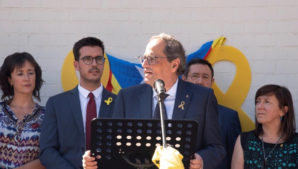 El presidente de la Generalitat, Quim Torra, en la Escuela Oficial de Idiomas de Lleida