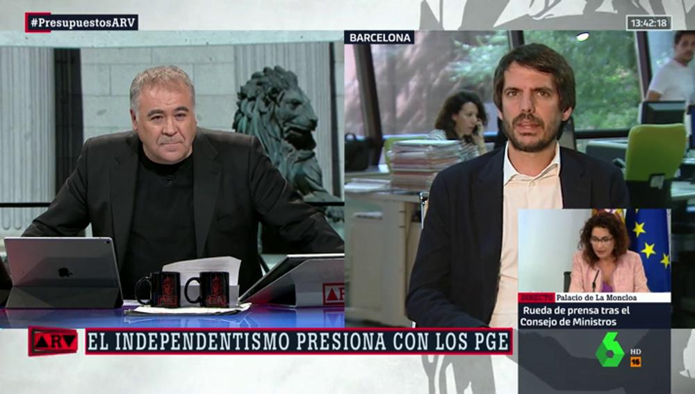 Antonio García Ferreras y el eurodiputado de En Comú Podem, Ernest Urtasun,