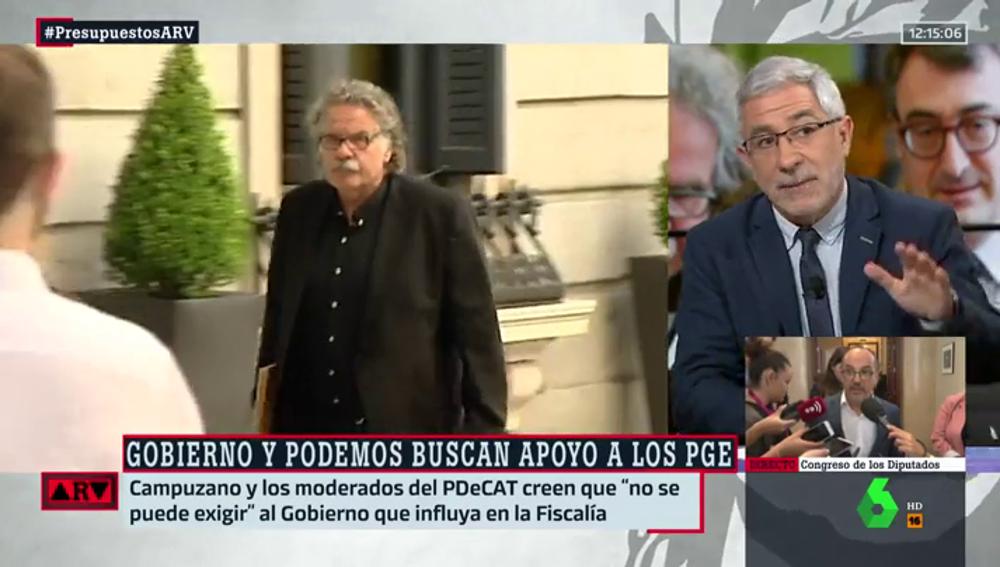 """Llamazares, de ERC y PDeCAT: """"Imagino que piensan que el Gobierno no puede hacer más que demostrar su desacuerdo sobre la prisión provisional"""""""