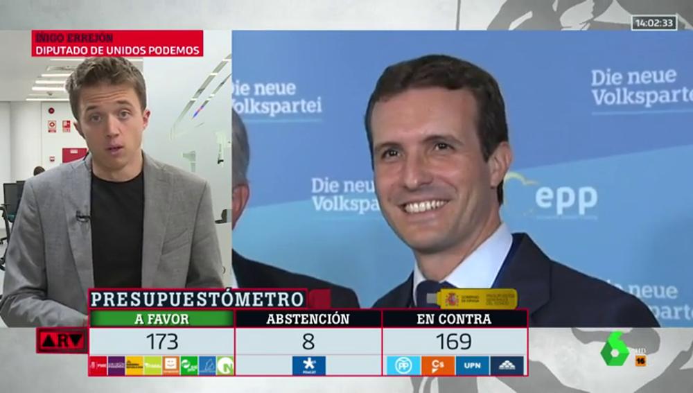 """La rotunda respuesta de Errejón a Casado por los PGE: """"No se puede ir de 'Pepito Grillo' a Europa para que tumbe algo aprobado en España"""""""