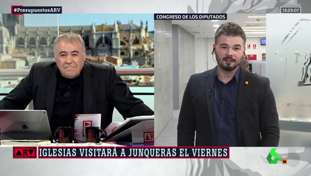 """El """"cariñoso"""" mensaje de Rufián a Podemos: """"Presionad igual al Gobierno que a los partidos catalanes por los PGE"""""""
