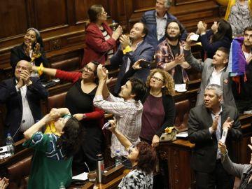 Diputados de Uruguay celebran la aprobación de la ley integral para las personas trans