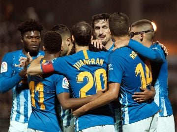 Los jugadores del Atlético celebran el gol