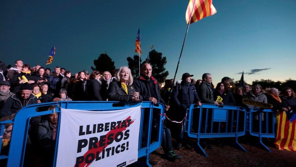 Un momento del acto en el que el independentismo conmemora el primer aniversario del encarcelamiento de miembros del anterior Govern