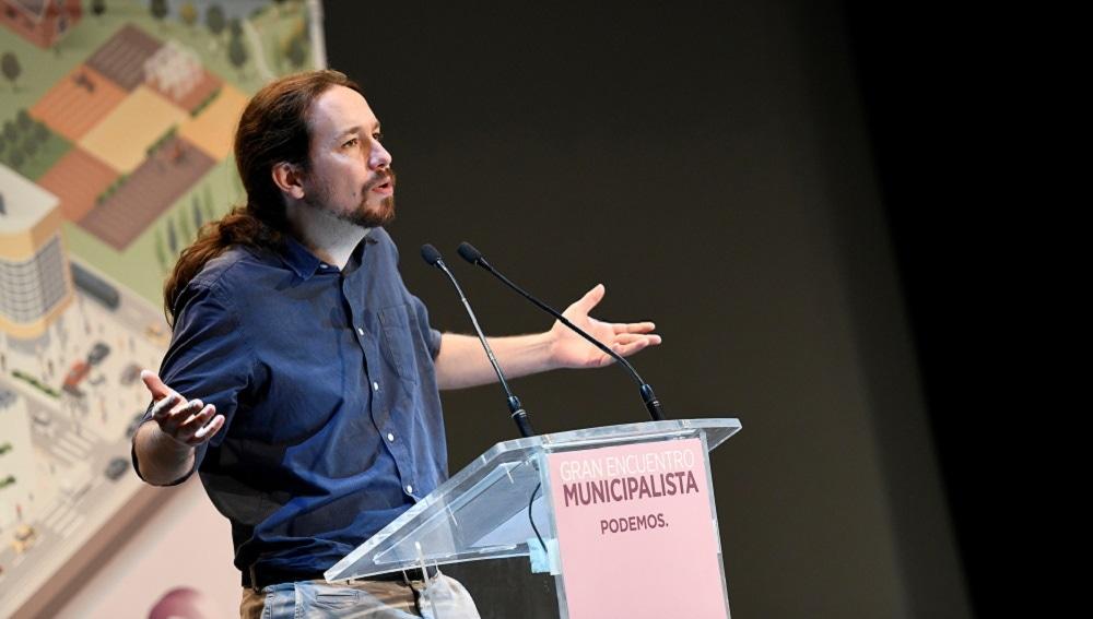 Iglesias durante su intervención en el Gran Encuentro Municipalista de Podemos en Alcorcón