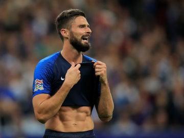 Giroud, durante un partido con la selección francesa
