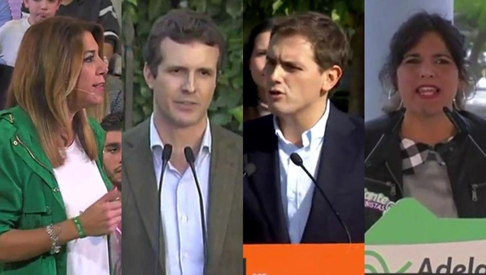 Susana Díaz, Pablo Casado, Albert Rivera y Teresa Rodríguez