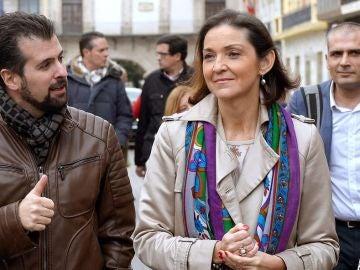 La ministra de Industria, Comercio y Turismo, Reyes Maroto, y el candidato a la Presidencia de la Junta y secretario general del PSOECyL, Luis Tudanca