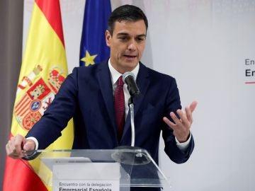 El presidente del Gobierno Pedro Sánchez, en una reunión con empresarios españoles que tienen intereses en Cuba.