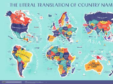 """España es la """"Tierra de muchos conejos"""": el mapa que explica el significado de los nombres de los países"""