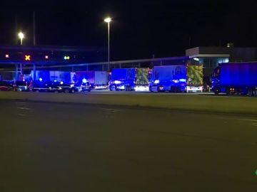 Camiones en la frontera entre Francia y España