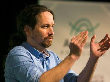Imagen de Pablo Iglesias durante un acto electoral