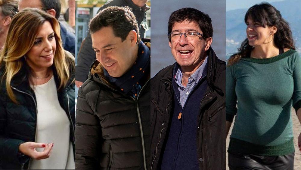 Susana Díaz, Juanma Moreno, Juan Marín y Teresa Rodríguez