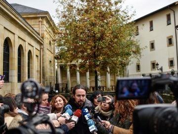 Pablo Iglesias, ante los medios