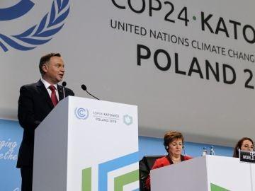 El presidente polaco, Andrzej Duda, pronuncia su discurso durante la ceremonia inaugural de la Cumbre del Clima
