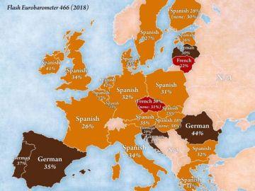 Mapa que muestra el idioma que más le gustaría aprender a los españoles.