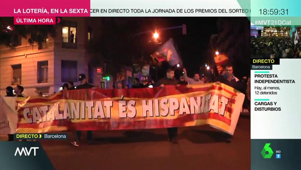 Incidentes en la marcha por la unidad de España en Barcelona que pretende confluir con la independentista