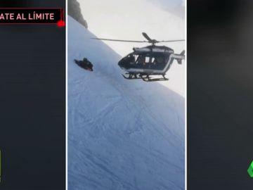 Rescate extremo en helicóptero de un esquiador accidentado en los Alpes