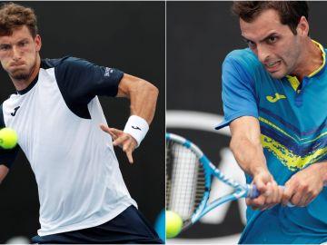 Pablo Carreño y Albert Ramos, en sus respectivos estrenos en el Open de Australia