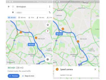 Google Maps mostrando los radares fijos