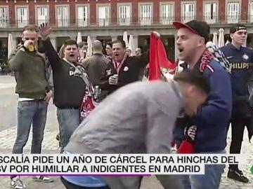 Hinchas del PSV en la Plaza Mayor