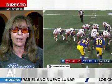 """María Estévez resume la Superbowl en cifras: """"Hay gente que ha perdido hasta diez millones de dólares en apuestas"""""""