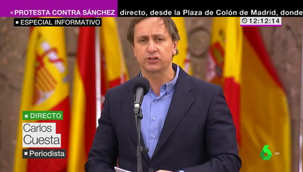 """Carlos Cuesta arranca el manifiesto en Colón: """"Los políticos han dejado las legitimas diferencias entre ellos fuera de la plaza"""""""