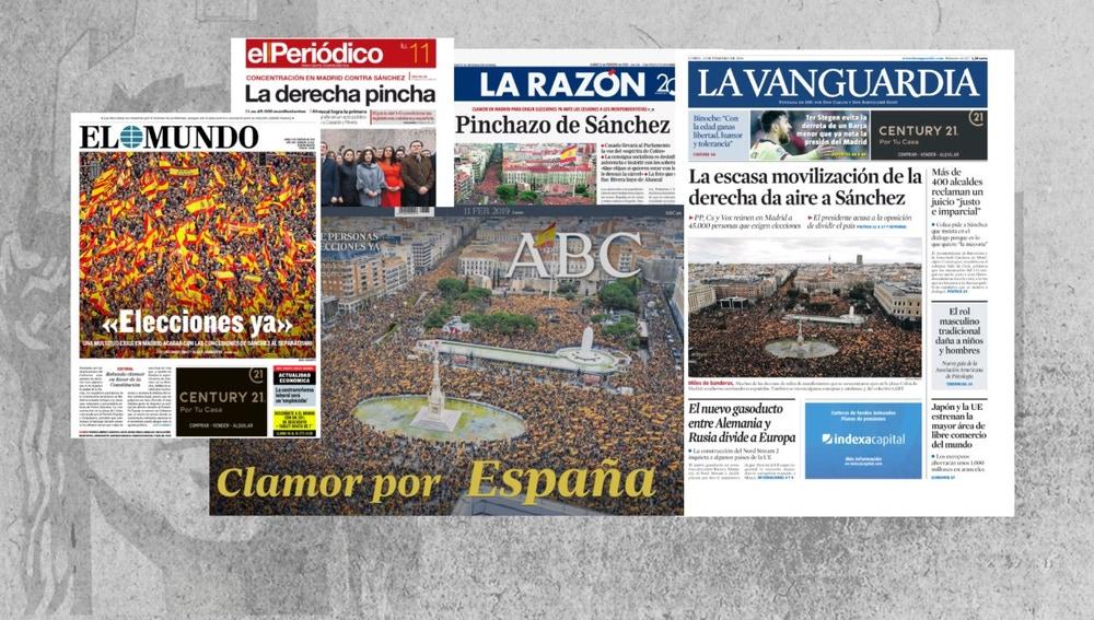 Portadas de los diarios tras la manifestación contra Sánchez