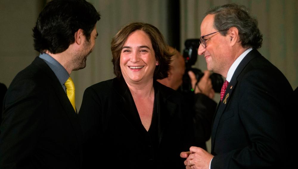 Quim Torra, Ada Colau y Jordi Puigneró