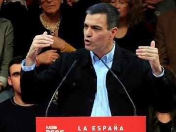 Pedro Sánchez durante un acto del PSOE