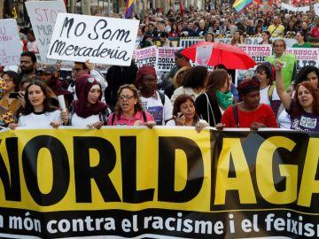 Imagen de la manifestación contra Vox en Barcelona