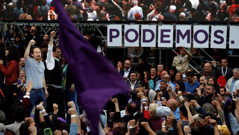 El líder de Podemos, Pablo Iglesias, durante un acto de la formación