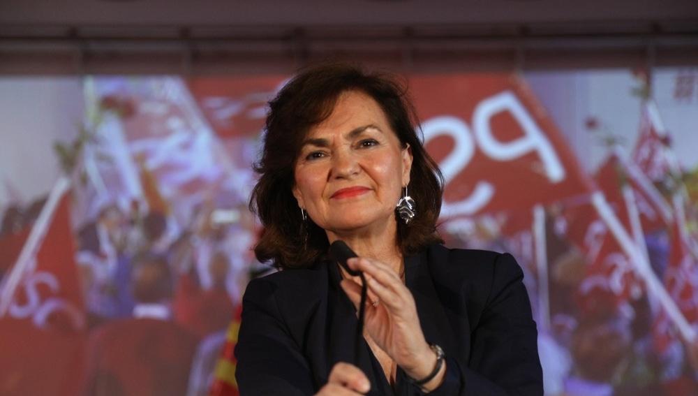 Carmen Calvo en un acto en L'Hospitalet