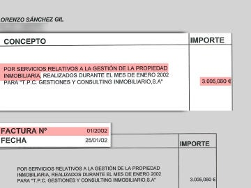 Factura que demuestra los pagos de Marjaliza a Sánchez Gil