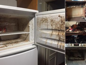 Los inquilinos dejaron casi todos los muebles quemados y destrozados