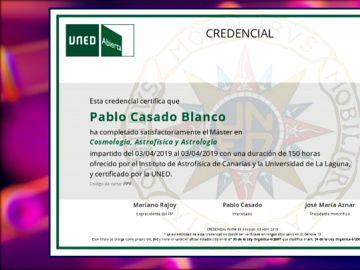 Zapeando consigue el diploma que demostraría la validez del máster de Cosmología de Pablo Casado