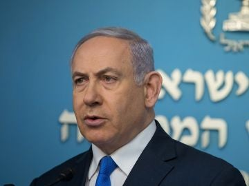El primer ministro israelí, Benjamin Netanyahu, ofrece una rueda de prensa en Jerusalén, Israel.