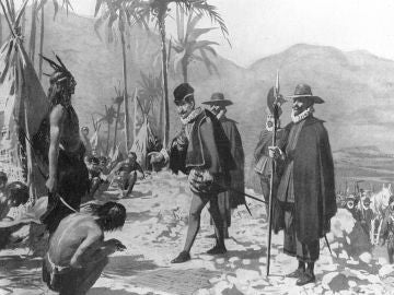 Hernán Cortés en presencia del Jefe Tlascalteca