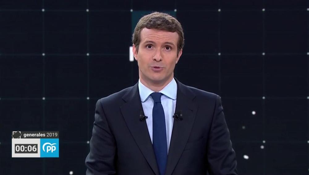 """Pablo Casado: """"El PP es la única alternativa presente en este plató"""""""