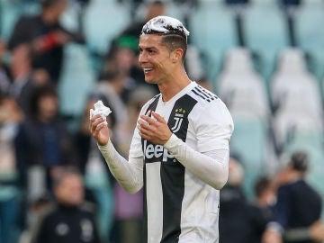 Cristiano Ronaldo durante la celebración del 'scudetto'