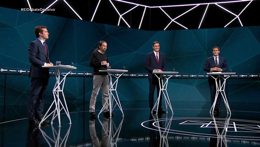 Imagen de archivo del debate electoral entre PP, Podemos, PSOE y Ciudadanos
