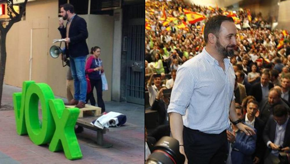 Santiago Abascal en un acto de 2015 y otro de 2019
